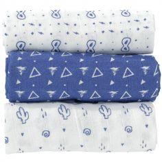 Lot de 3 langes bleus (70 x 70 cm)