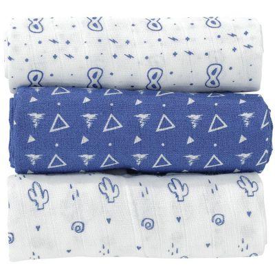Lot de 3 langes bleus (70 x 70 cm)  par Trois Kilos Sept
