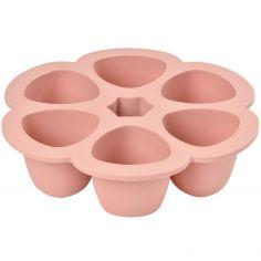 Moule de congélation multi portions silicone rose clair (6 x 90 ml)