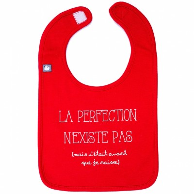 Bavoir La perfection n'existe pas rouge  par BB & Co