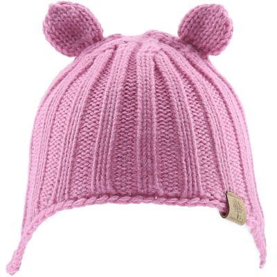 Bonnet en tricot avec oreilles rose (12-18 mois)