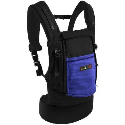 Porte-bébé PhysioCarrier en coton noir et iris avec pack réhausseur et cale-tête