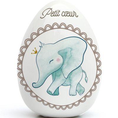 Oeuf en porcelaine Éléphant (personnalisable)  par Gaëlle Duval