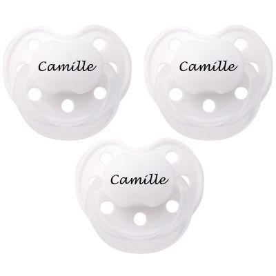Lot de 3 sucettes personnalisables anatomiques Deluxe blanc en silicone (3-36 mois)  par Baby Tute