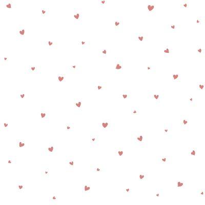 Papier peint intissé Lovely hearts rose (10 m)  par Lilipinso