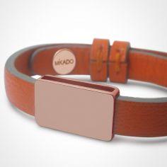 Bracelet cuir Hip-Hop Mandarine (or rose 750° et cuir)