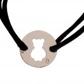 Bracelet cordon plaque ajourée nounours 20 mm (argent 925°) - Loupidou