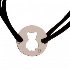 Bracelet cordon plaque ajourée nounours 20 mm (argent 925°)