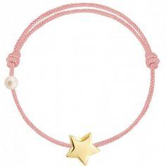 Bracelet cordon Etoile et perle rose poudré (or jaune 750°)