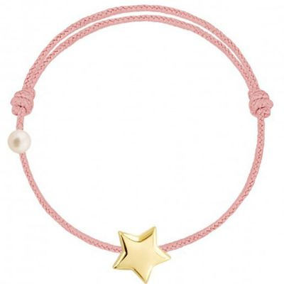 Bracelet cordon Etoile et perle rose poudré (or jaune 750°)  par Claverin
