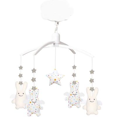 Mobile musical Ange lapin étoiles blanc et écru  par Trousselier