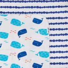 Lot de 2 maxi langes en coton flanelle Willy la baleine (100 x 100 cm)