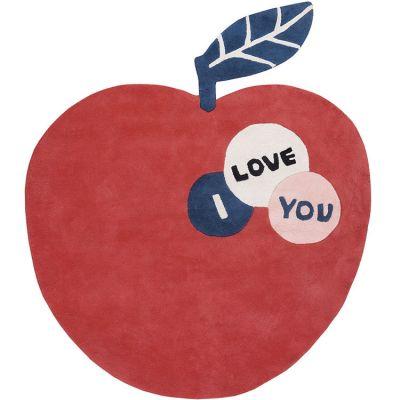 Tapis coton pomme I love you (135 cm)  par Lilipinso