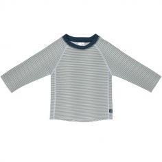 Tee-shirt anti-UV manches longues rayé col marine (2 ans)