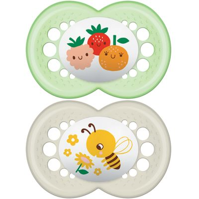 Lot de 2 sucettes anatomiques Décor classique abeille et fruits en silicone (6 mois et +)  par MAM