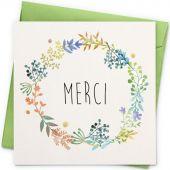 Carte Merci fleurs (13 x 13 cm) - La Poupette à paillettes