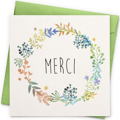 Carte Merci fleurs (13 x 13 cm)  par La Poupette à paillettes