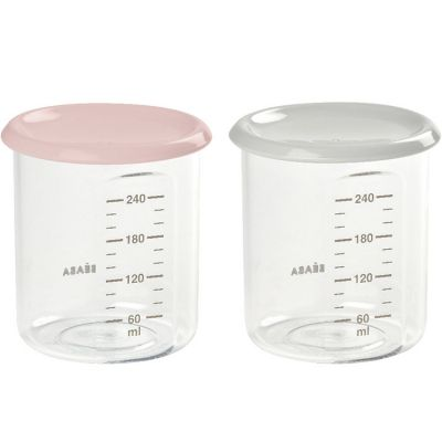Lot de 2 pots de conservation en tritan Maxi portion rose et gris (240 ml)  par Béaba
