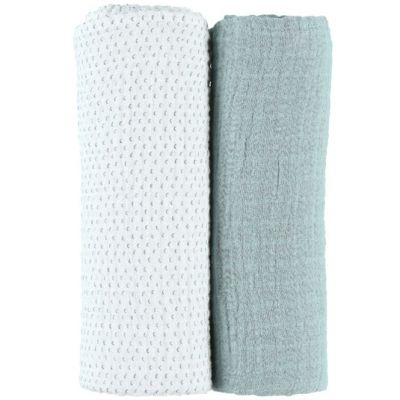 Lot de 2 maxi langes vert d'eau Mix & match (100 x 100 cm)  par Noukie's