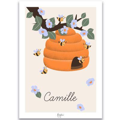 Affiche A4 Les abeilles (personnalisable)  par Kanzilue