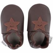 Chaussons en cuir Soft soles marron étoile (15-21 mois) - Bobux