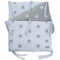 Tour de lit Star bleu ciel et gris (pour lit 60 x 120 cm)