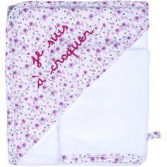 Cape de bain + gant Je suis à croquer Liberty rose (70 x 70 cm)