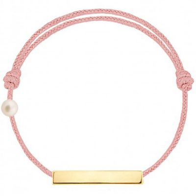 Bracelet cordon Plaque et perle rose poudré (or jaune 750°)  par Claverin