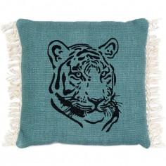 Coussin carré Gypsy tigre bleu (46 x 46 cm)