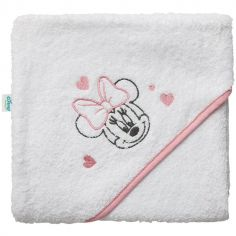 Cape de bain Minnie liseré rose (80 x 80 cm)
