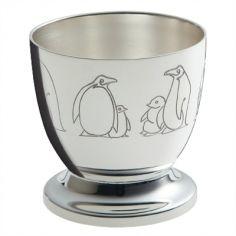 Coquetier Pingouins (métal argenté)