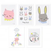 Lot de 5 posters Happy clouds by Aless Baylis - Lilipinso
