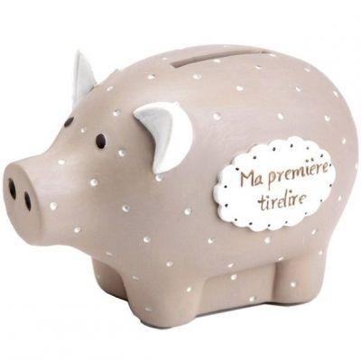 Tirelire Ma première tirelire cochon taupe à pois (8 x 12 cm)  par Amadeus