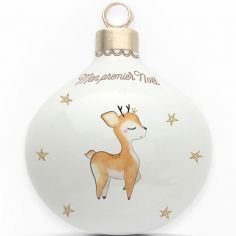 Boule en porcelaine Mon premier Noël Renne