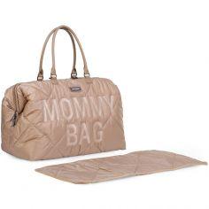 Sac à langer à anses Mommy bag matelassé beige