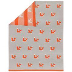 Couverture bébé renard en jacquard de coton (80 x 100 cm)