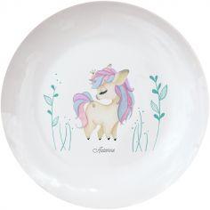 Assiette en porcelaine Licorne (personnalisable)