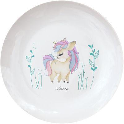 Assiette en porcelaine Licorne (personnalisable)  par Gaëlle Duval