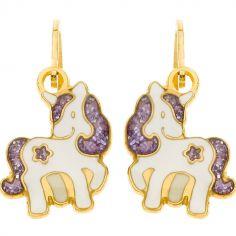 Boucles d'oreilles brisure Licorne étoile pailletée violette (or jaune 750°)