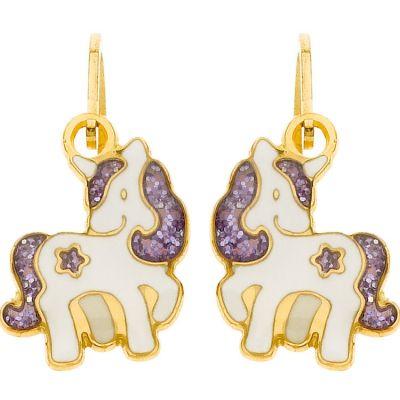 Boucles d'oreilles brisure Licorne étoile pailletée violette (or jaune 750°)  par Berceau magique bijoux