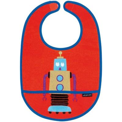 Bavoir plastifié à velcro Les Robots  par Maison Petit Jour