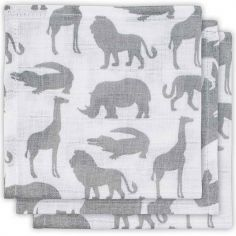 Lot de 3 mini langes Safari gris (31 x 31 cm)