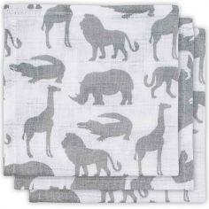Lot de 3 mini langes Safari gris (31 x 31 cm)
