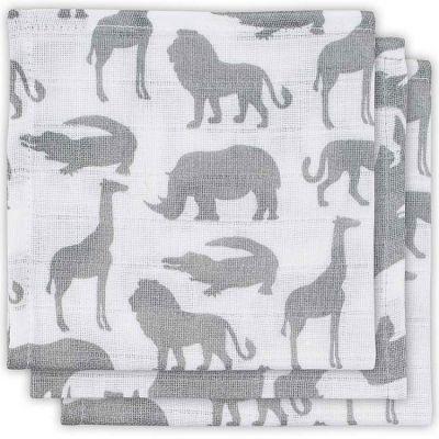 Lot de 3 mini langes Safari gris (31 x 31 cm)  par Jollein