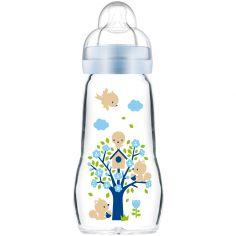 Biberon verre Opaque & Arctic Blue arbre et oiseaux - débit 2 moyen(260 ml)