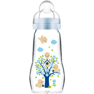 Biberon verre Opaque & Arctic Blue arbre et oiseaux - débit 2 moyen(260 ml)  par MAM