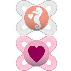 Lot de 2 sucettes anatomiques Naissance fille (0-2 mois)