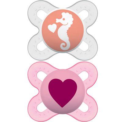 Lot de 2 sucettes anatomiques Naissance fille (0-2 mois)  par MAM