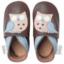 Chaussons bébé cuir Soft soles hibou garçon (15-21 mois)  par Bobux