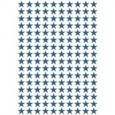 Stickers étoiles bleues pétrole (29,7 x 42 cm)